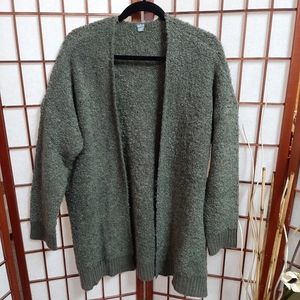 Aerie long green fuzzy soft long cardigan size med